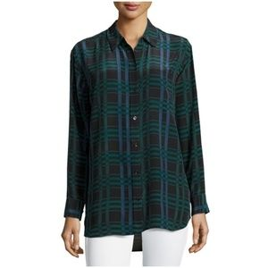 EquipmentDaddy Long-Sleeve Plaid Blouse, Ink Multi